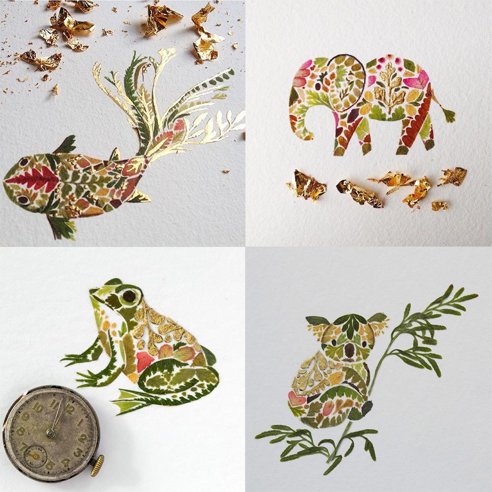 illustrazioni-animali-alghe-felci-foglia-oro-helen-ahpornsiri-05