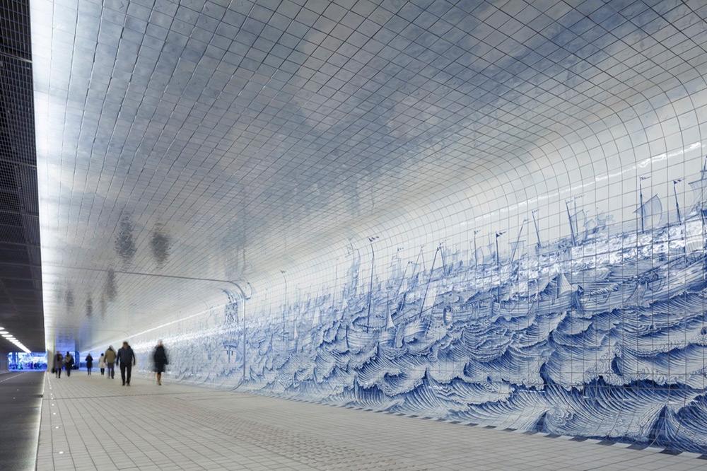 tunnel-pedonale-ciclabile-amsterdam-murale-piastrelle-cuyperspassage-5