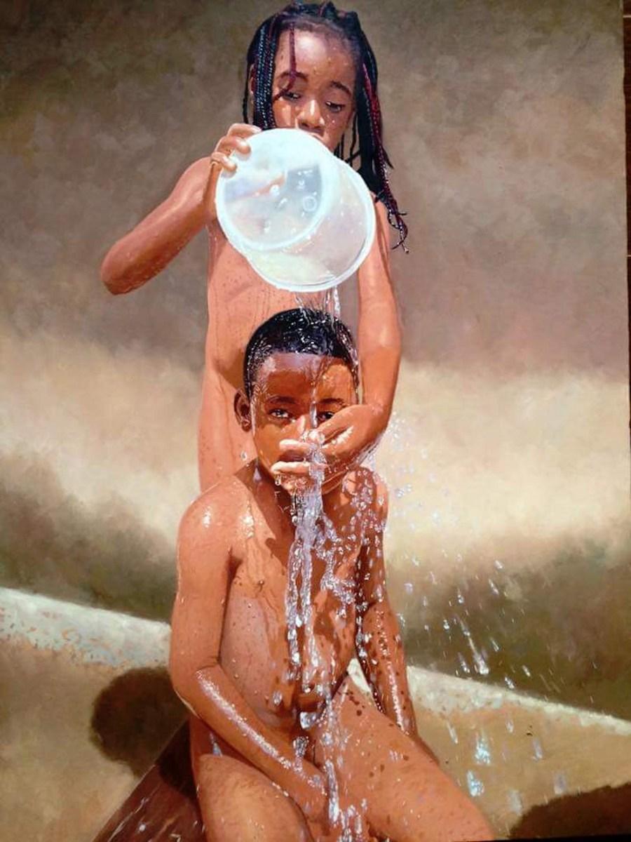 dipinti-iper-realistici-bambini-giocano-acqua-nigeria-oresegun-olumide-7