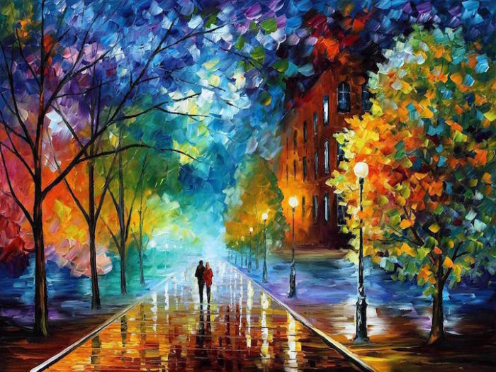 Colorati dipinti autunnali ad olio