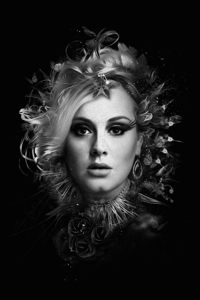 foto-ritratti-bianco-e-nero-fantasy-cantanti-famose-ADELE