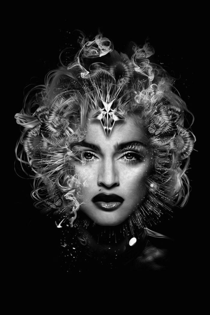 foto-ritratti-bianco-e-nero-fantasy-cantanti-famose-MADONNA