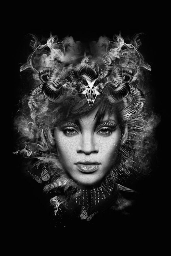 foto-ritratti-bianco-e-nero-fantasy-cantanti-famose-RIHANNA
