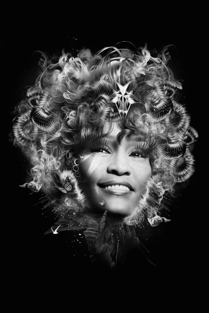 foto-ritratti-bianco-e-nero-fantasy-cantanti-famose-WHITNEY-HOUSTON