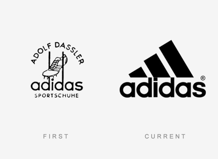 Loghi famosi ieri oggi originali inizi, Adidas