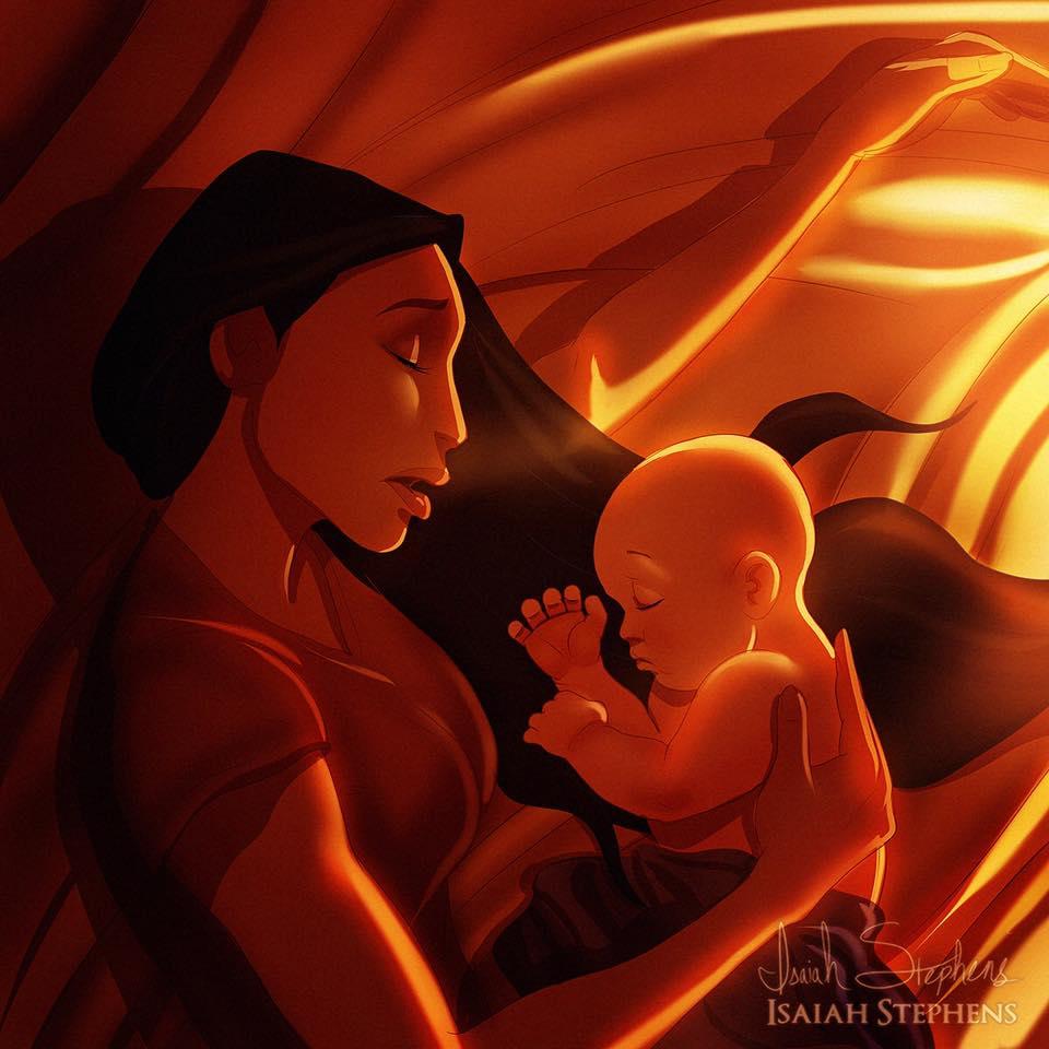 principesse-disney-diventano-mamme-illustrazioni-isaiah-stephens-4