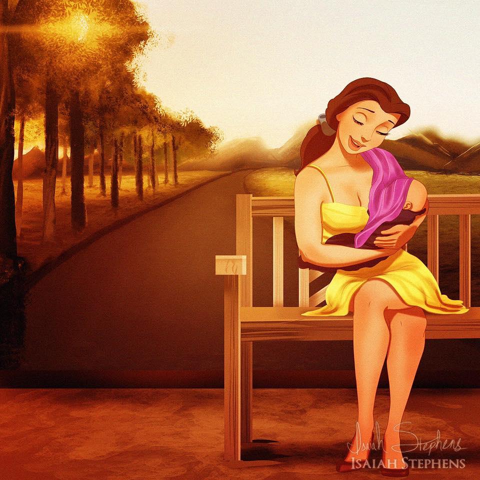principesse-disney-diventano-mamme-illustrazioni-isaiah-stephens-8
