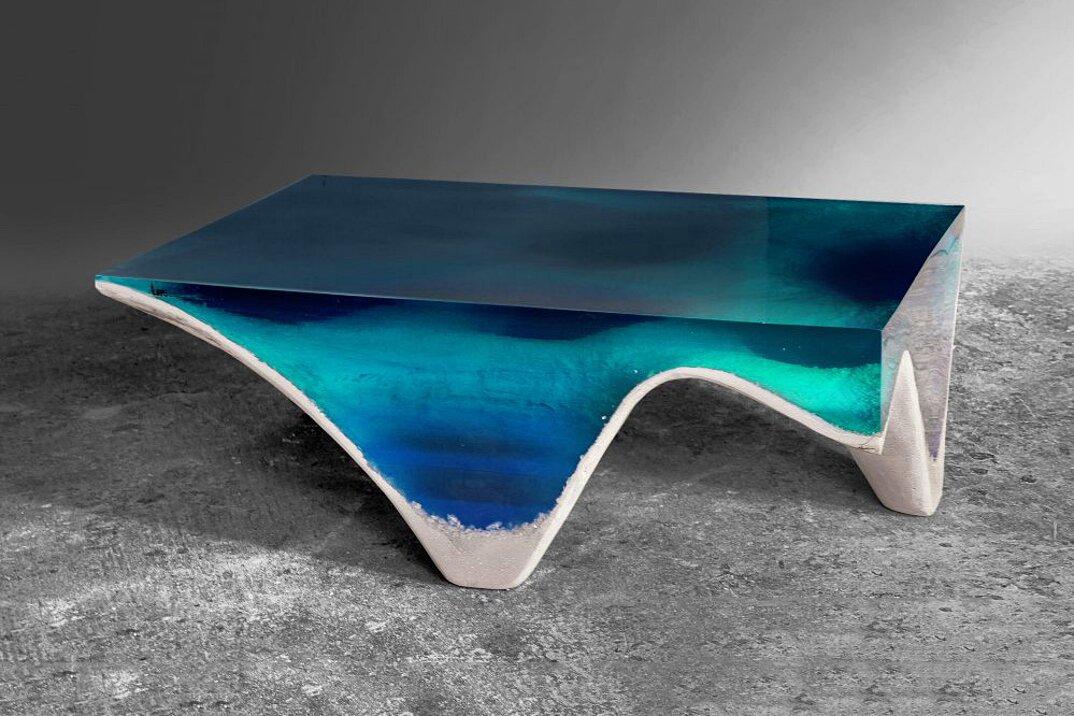 Tavolino Salotto Verde : Elegante tavolo in pietra e acrilico imita le profondità del mare