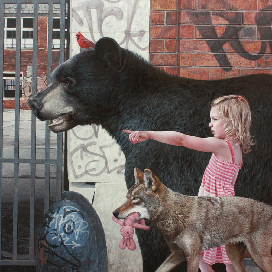 dipinti-iperrealisti-bambini-animali-citta-fatiscenti-kevin-peterson-01