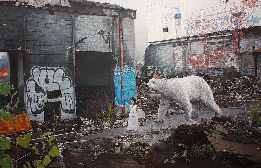 dipinti-iperrealisti-bambini-animali-citta-fatiscenti-kevin-peterson-02