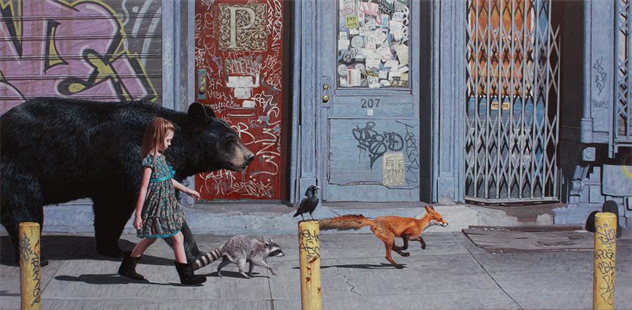 dipinti-iperrealisti-bambini-animali-citta-fatiscenti-kevin-peterson-04