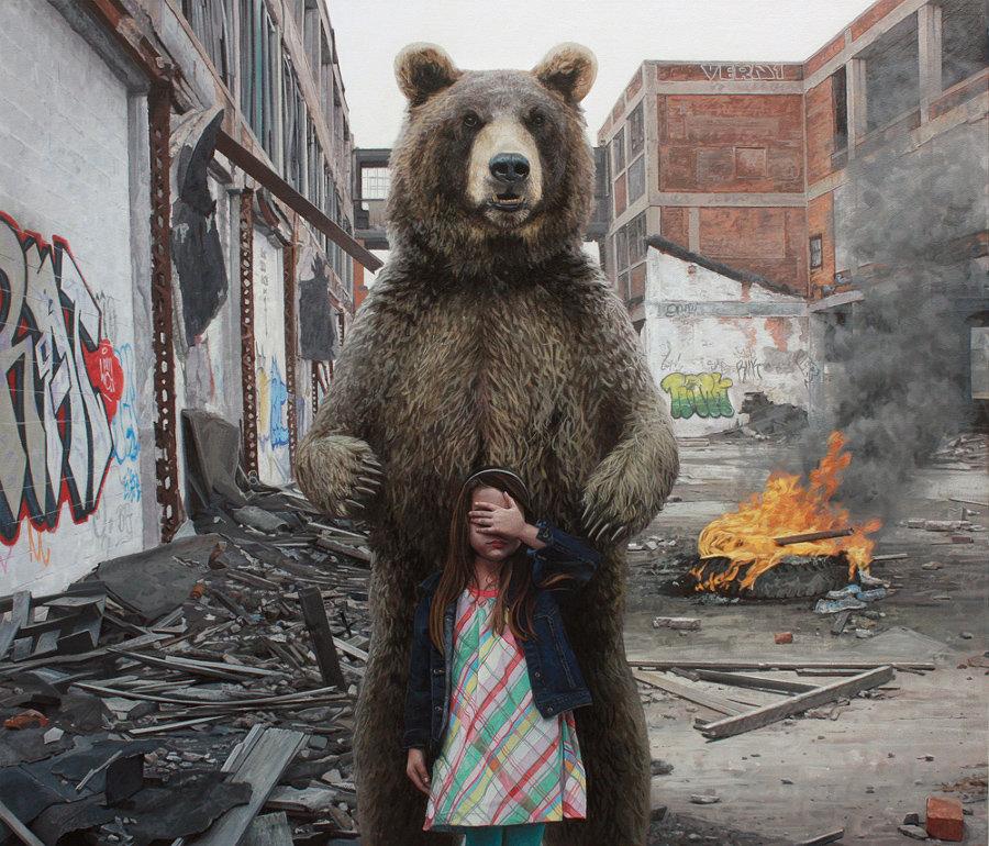 dipinti-iperrealisti-bambini-animali-citta-fatiscenti-kevin-peterson-05