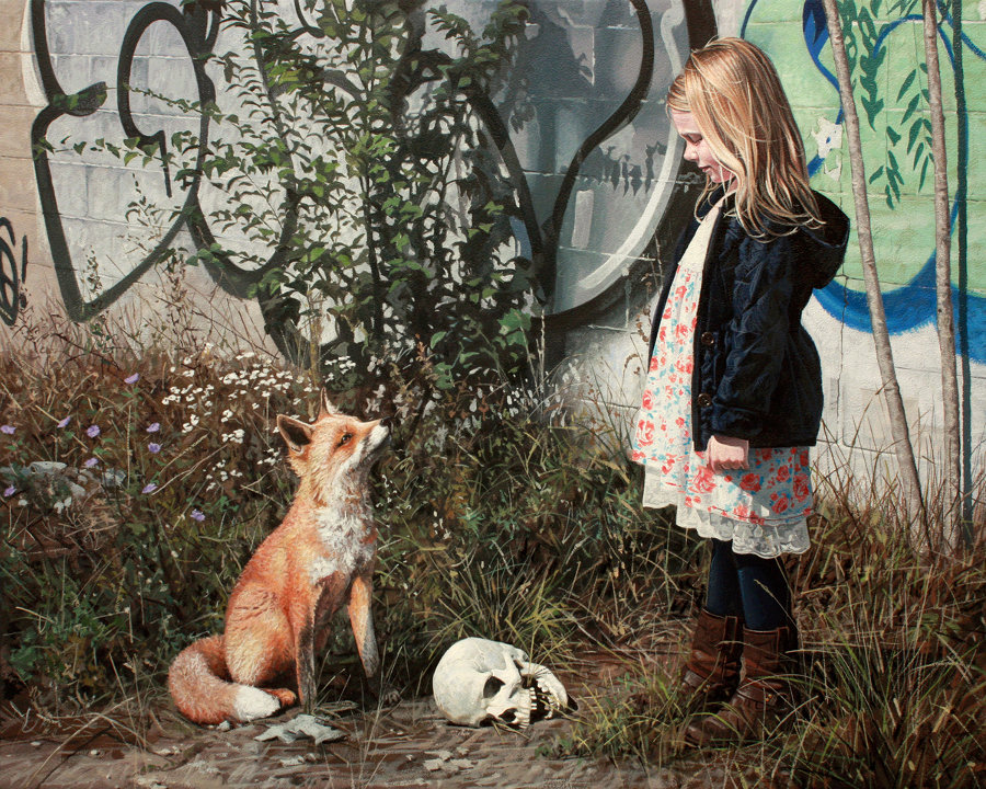dipinti-iperrealisti-bambini-animali-citta-fatiscenti-kevin-peterson-06
