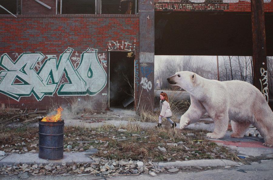 dipinti-iperrealisti-bambini-animali-citta-fatiscenti-kevin-peterson-07