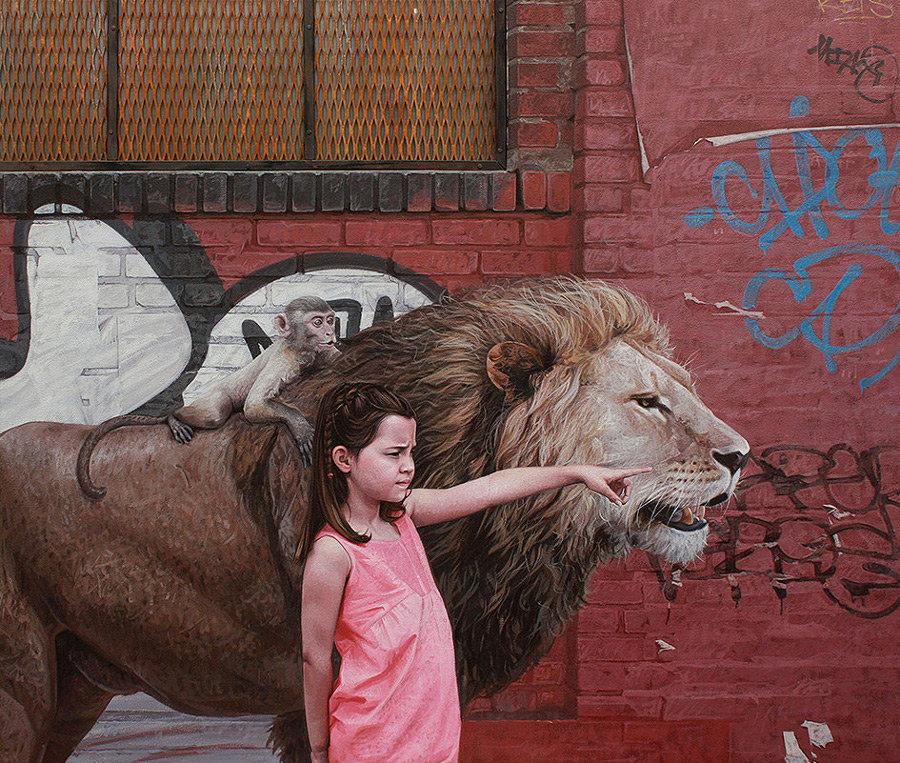 dipinti-iperrealisti-bambini-animali-citta-fatiscenti-kevin-peterson-10