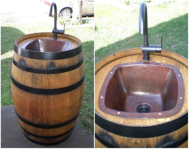 È possibile trasformare un barile in un lavandino esterno, ecco come ...