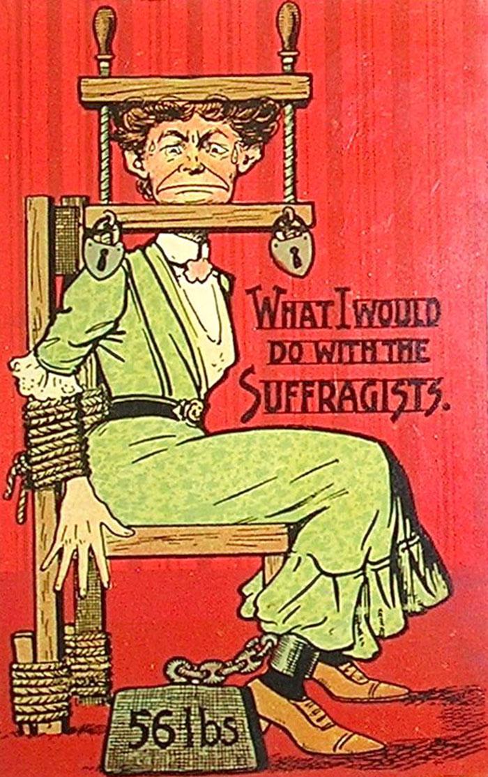 Cartoline di propaganda contro diritti alle donne 1900