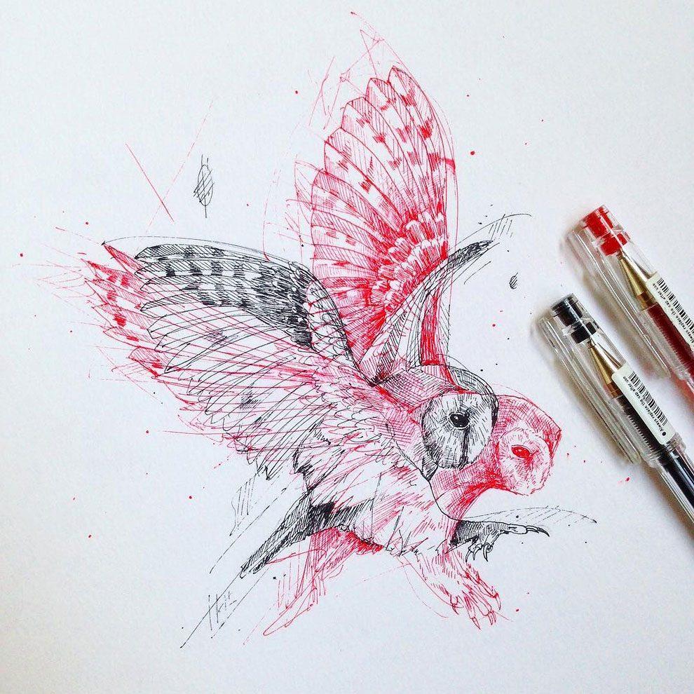 disegni-inchiostro-animali-alberi-alfred-basha-01
