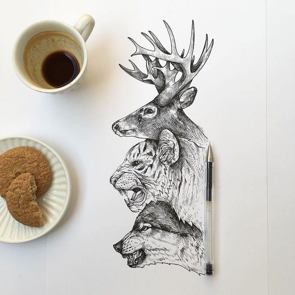 disegni-inchiostro-animali-alberi-alfred-basha-02