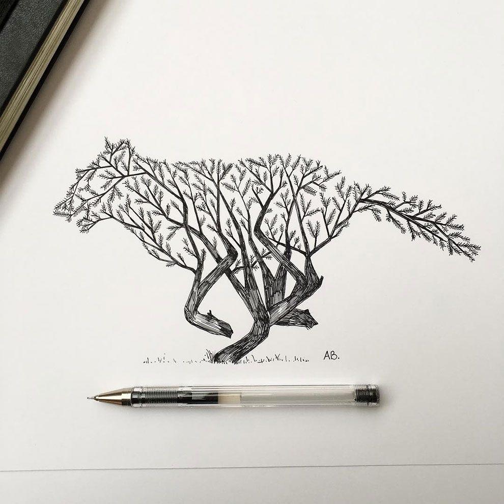 disegni-inchiostro-animali-alberi-alfred-basha-03