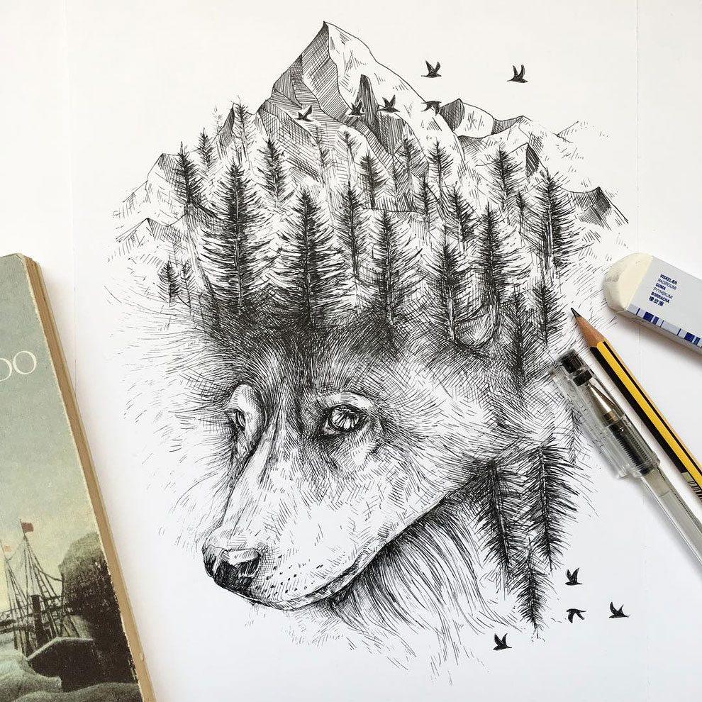 disegni-inchiostro-animali-alberi-alfred-basha-04