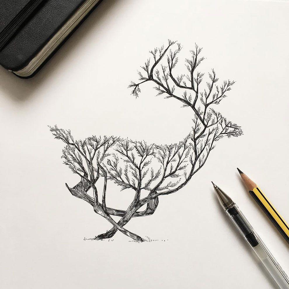 disegni-inchiostro-animali-alberi-alfred-basha-05