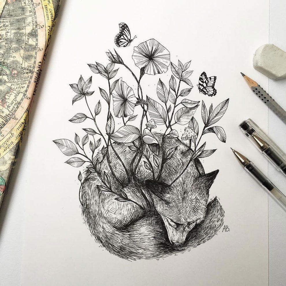 disegni-inchiostro-animali-alberi-alfred-basha-08