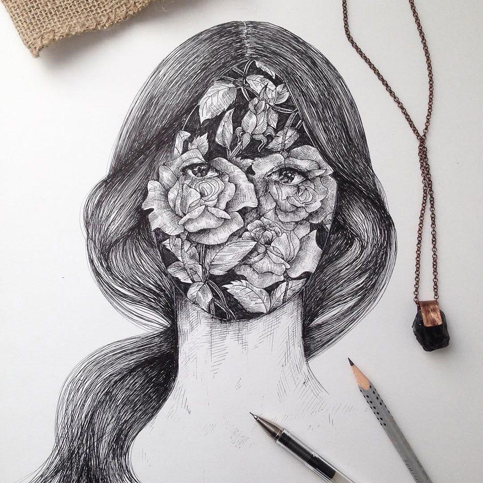 disegni-inchiostro-animali-alberi-alfred-basha-09