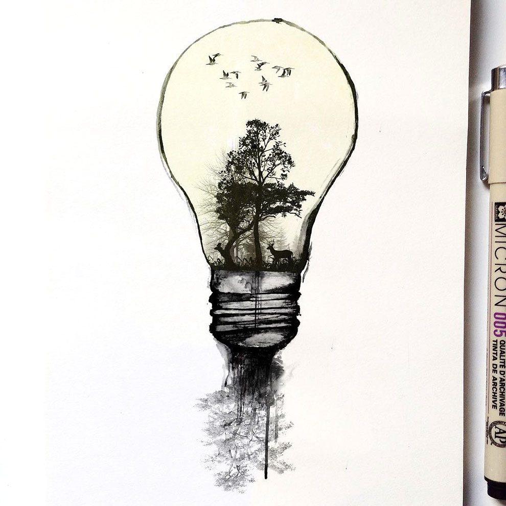 disegni-inchiostro-animali-alberi-alfred-basha-12