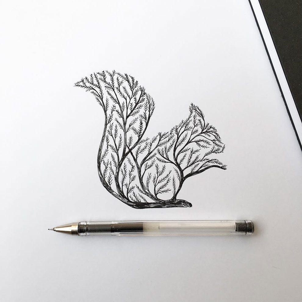 disegni-inchiostro-animali-alberi-alfred-basha-13