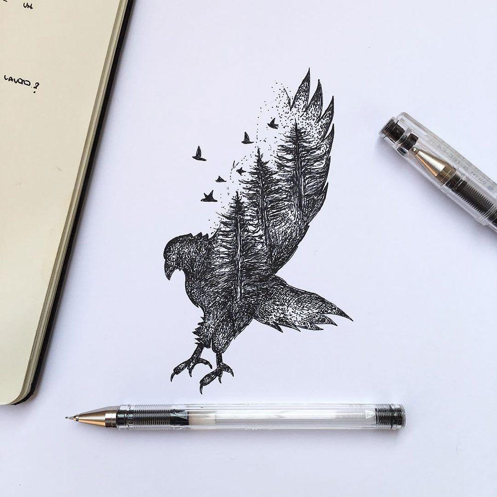 disegni-inchiostro-animali-alberi-alfred-basha-15