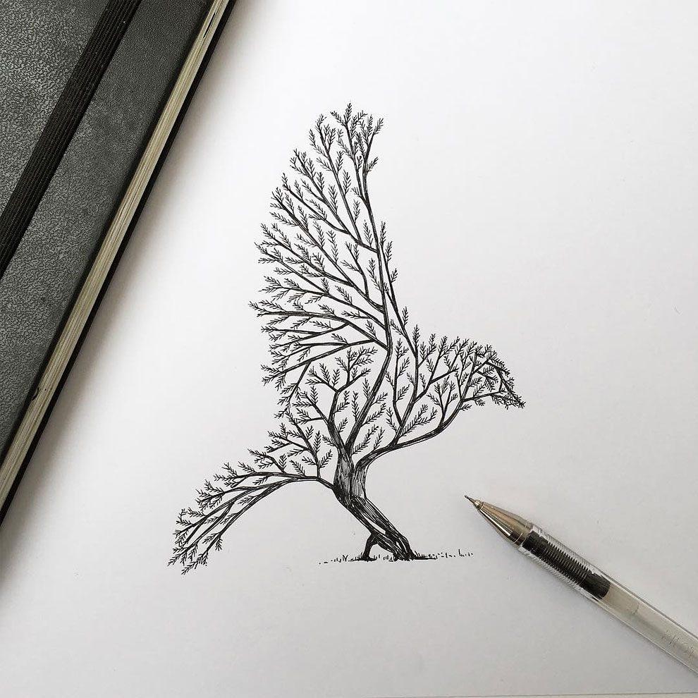disegni-inchiostro-animali-alberi-alfred-basha-16