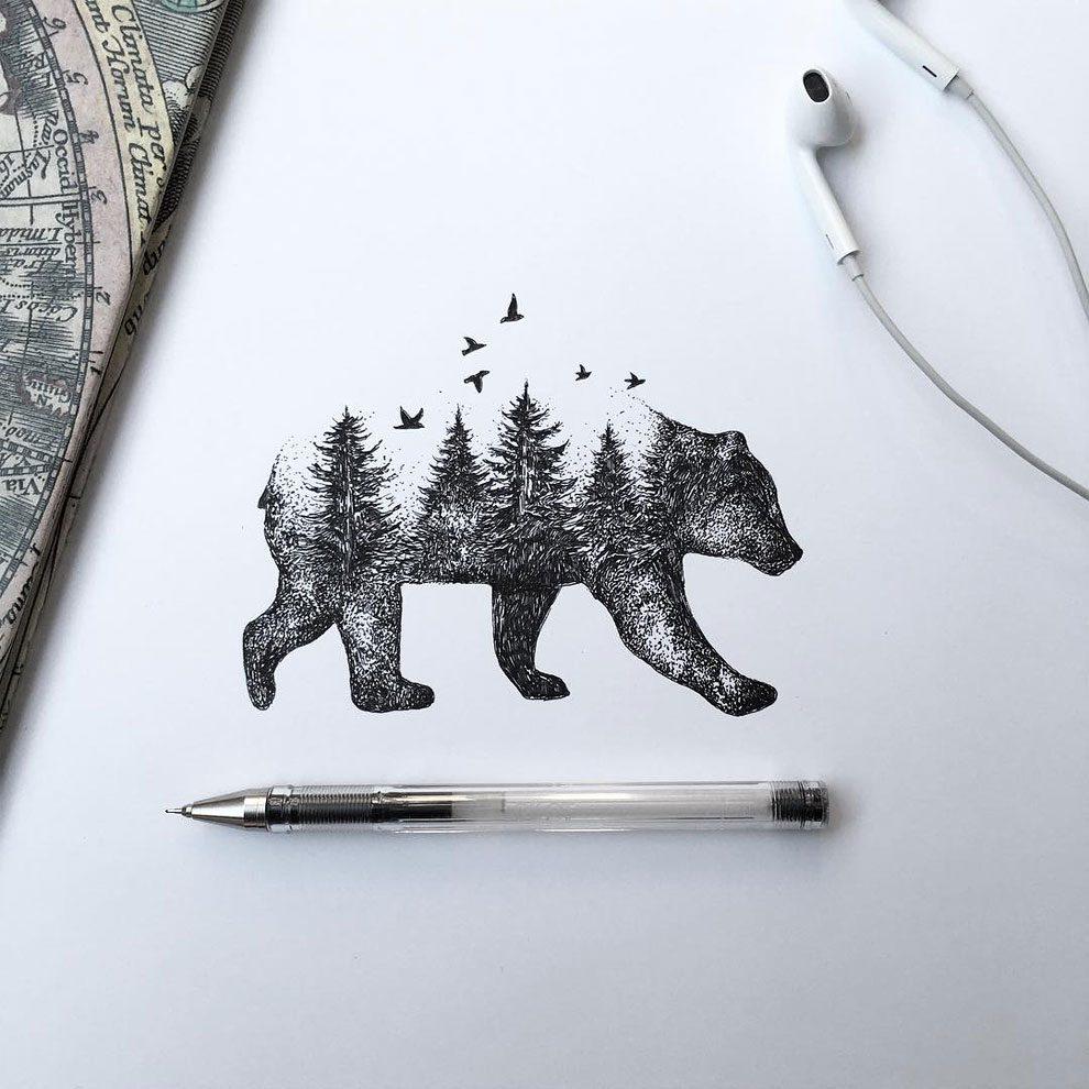 disegni-inchiostro-animali-alberi-alfred-basha-17