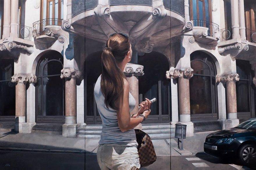 dipinti-iperrealisti-scorci-barcellona-passanti-marc-figueras-02