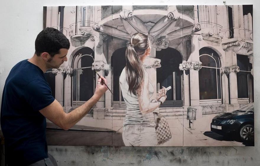 dipinti-iperrealisti-scorci-barcellona-passanti-marc-figueras-03