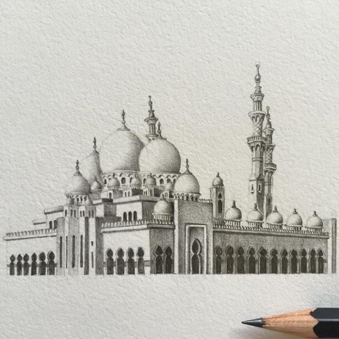 disegni-matita-miniature-moschee-emirati-arabi-uniti-mariam-abbas-16