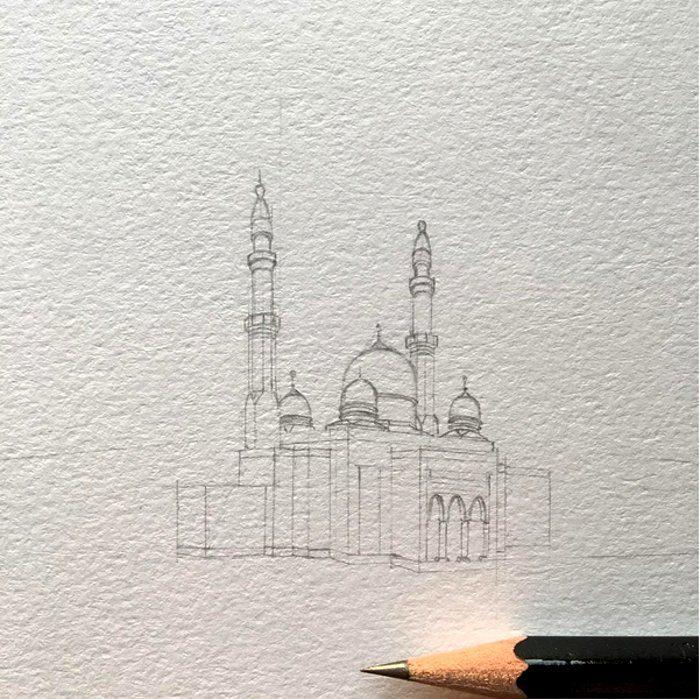 disegni-matita-miniature-moschee-emirati-arabi-uniti-mariam-abbas-18