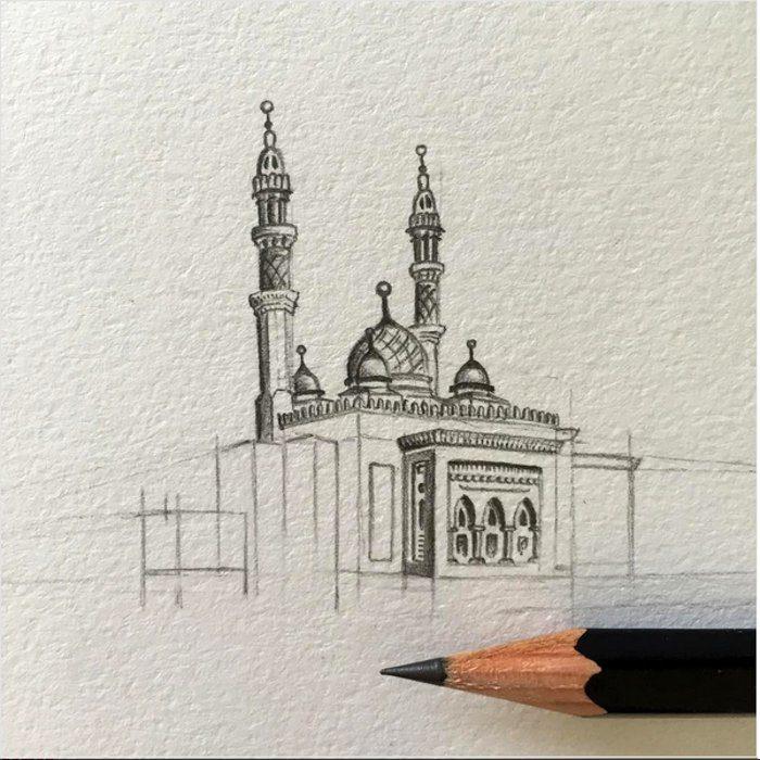 disegni-matita-miniature-moschee-emirati-arabi-uniti-mariam-abbas-20
