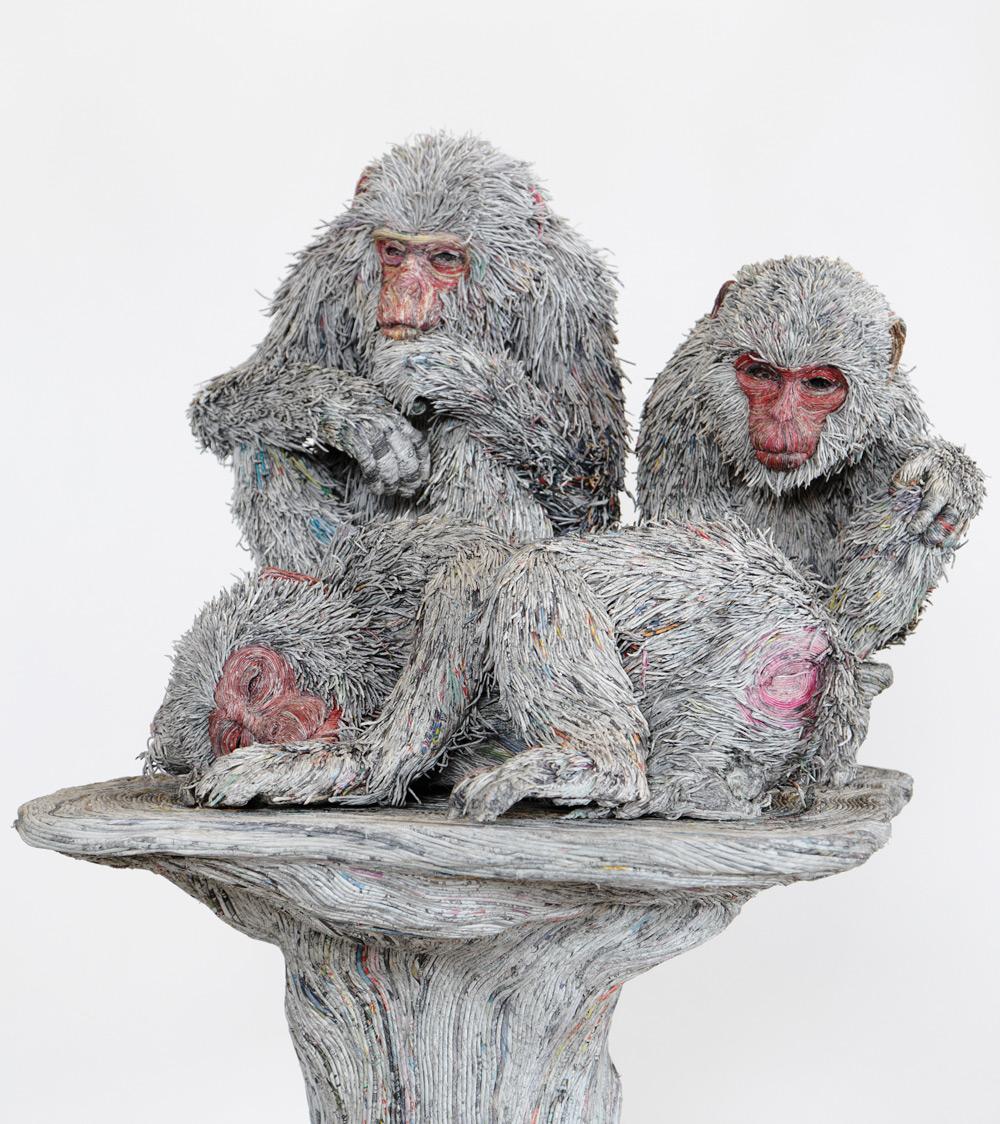 sculture-animali-grandezza-reale-carta-giornali-arrotolati-chie-hitotsuyama-05