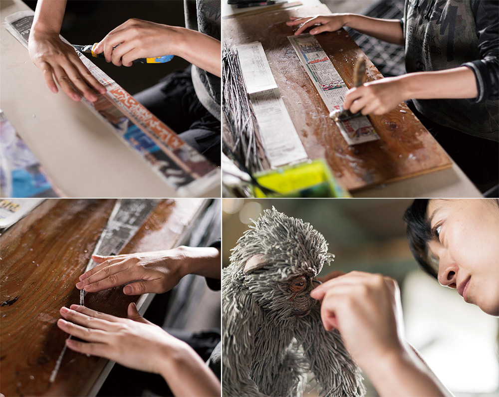 sculture-animali-grandezza-reale-carta-giornali-arrotolati-chie-hitotsuyama-09