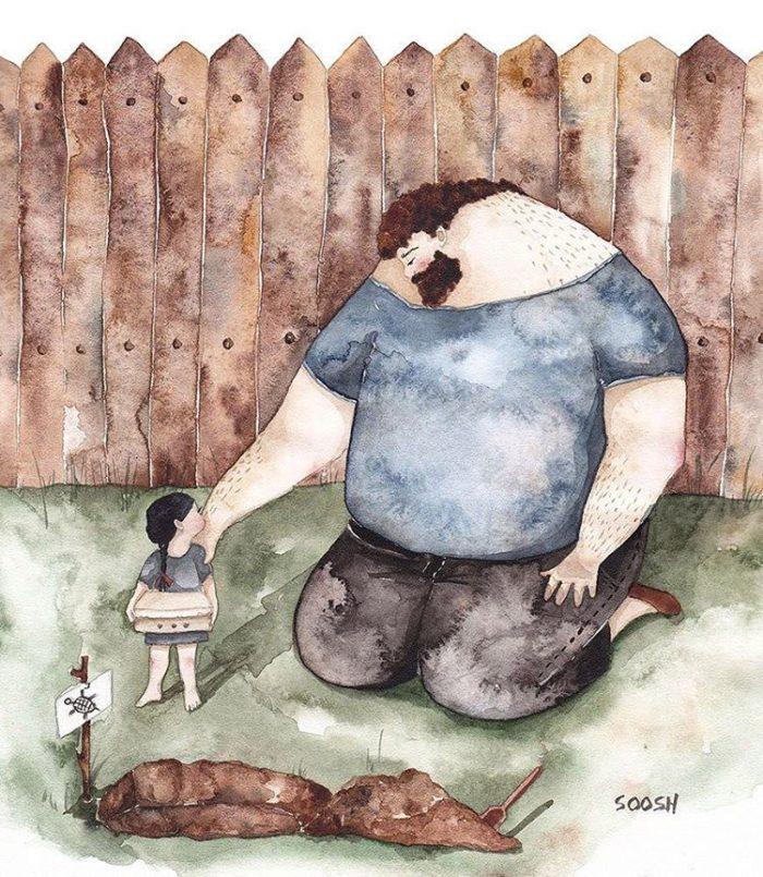 illustrazioni-acquerelli-padre-figlia-snezhana-soosh-081-700x805