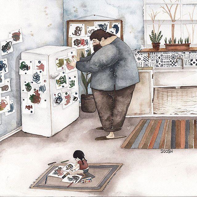 illustrazioni-acquerelli-padre-figlia-snezhana-soosh-13