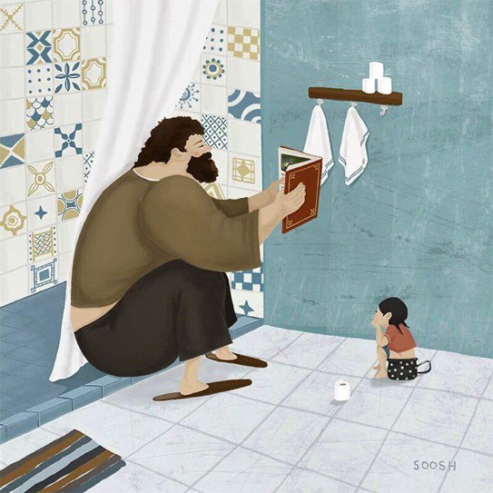 illustrazioni-acquerelli-padre-figlia-snezhana-soosh-14-700x700