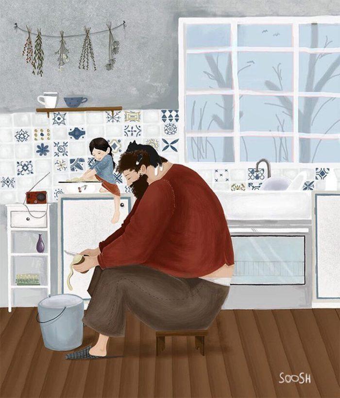 illustrazioni-acquerelli-padre-figlia-snezhana-soosh-15-700x819