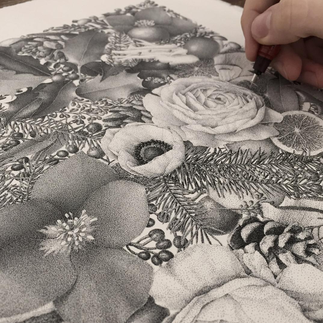 disegno-punti-inchiostro-winter-puntinismo-xavier-casalta-03