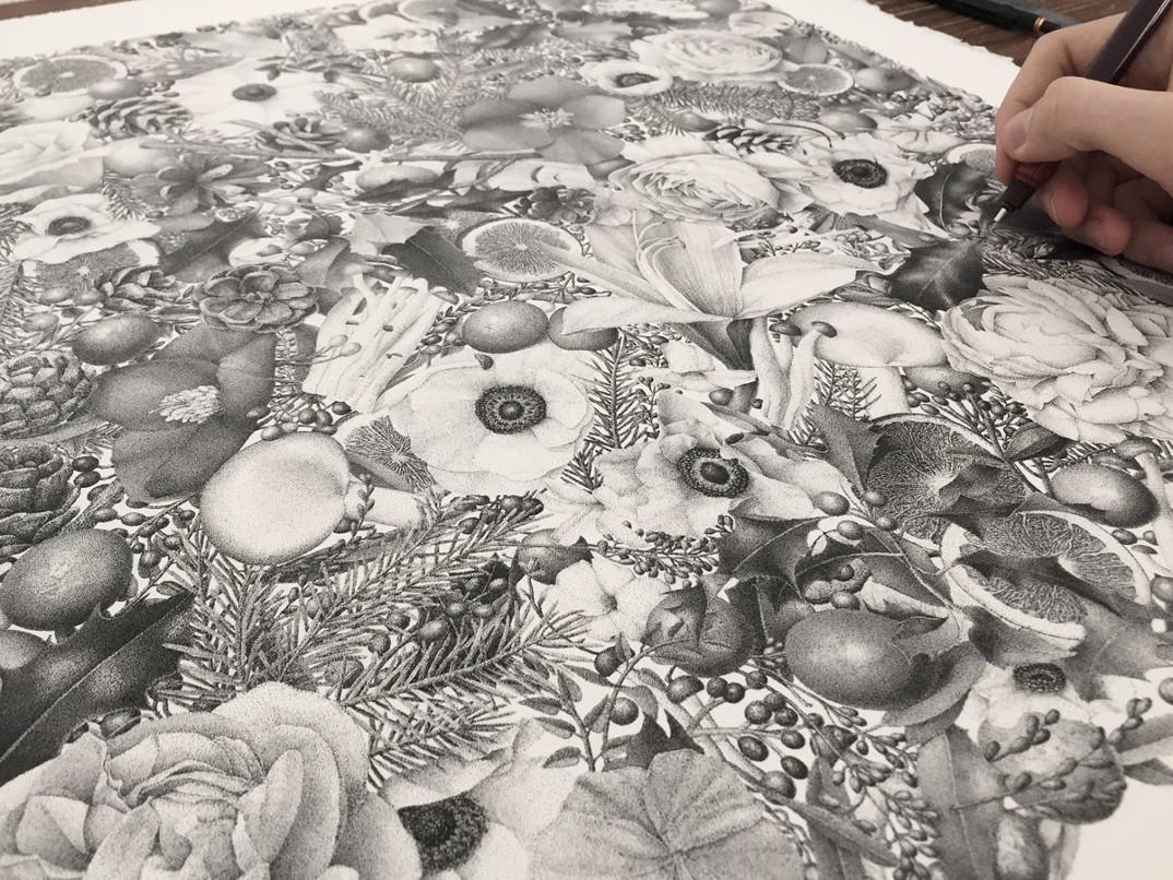 disegno-punti-inchiostro-winter-puntinismo-xavier-casalta-09