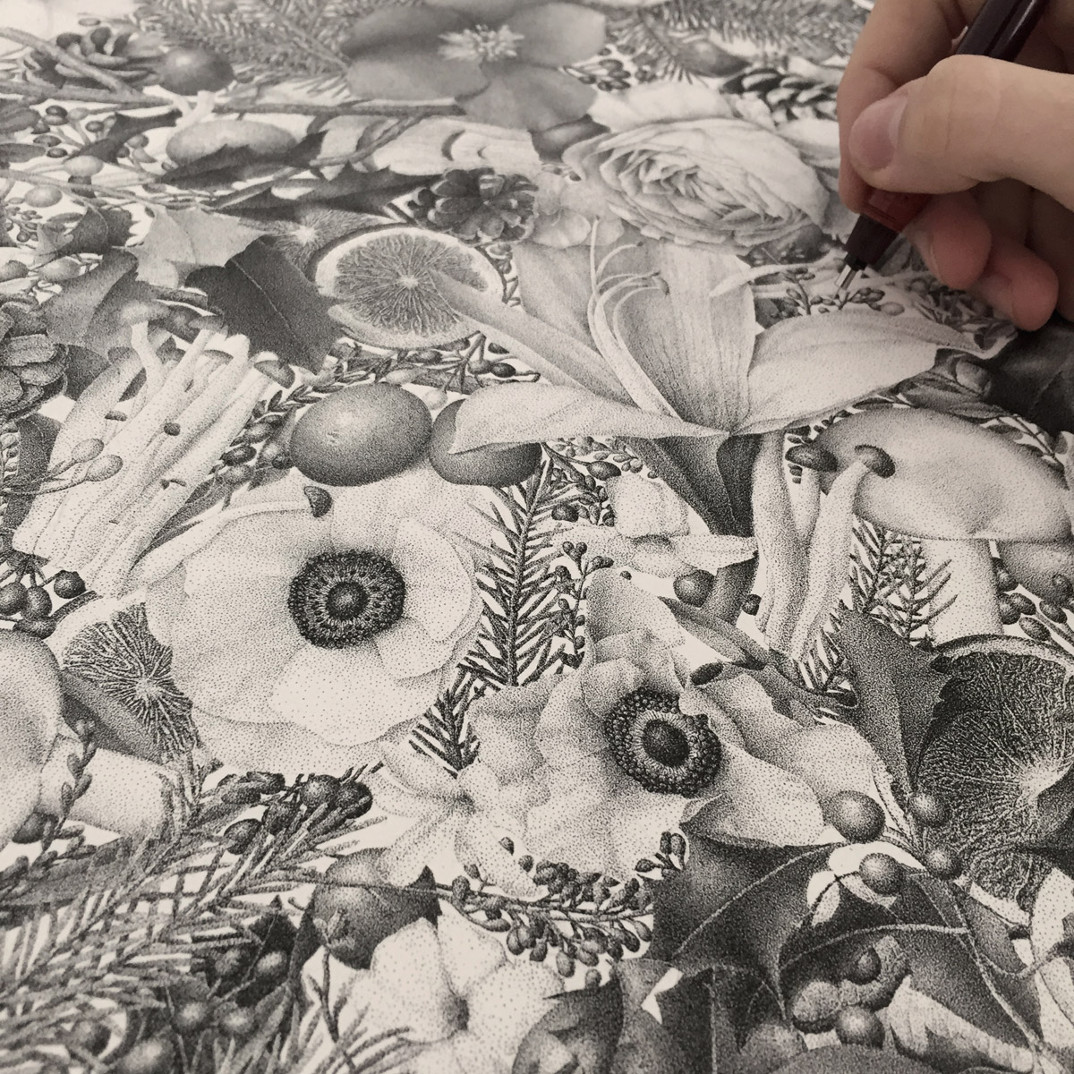 disegno-punti-inchiostro-winter-puntinismo-xavier-casalta-11