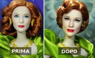 Artista ridipinge volti di bambole che diventano incredibilmente realistici