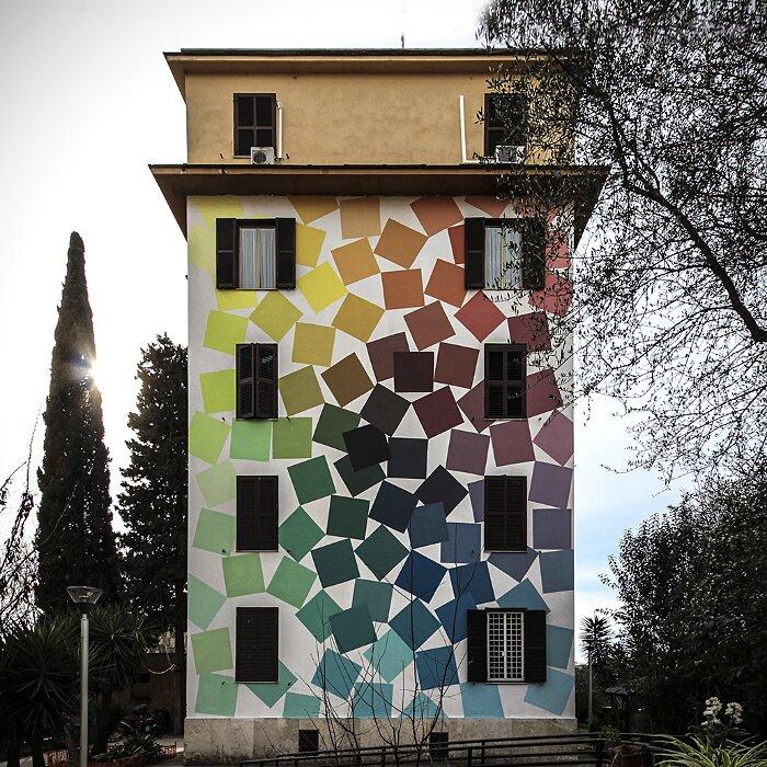 """Street Art Roma - Alberonero, """"A Carlo Alberto 93 Colori"""", Tor Marancia"""