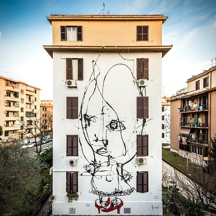 "Street Art Roma - Danilo Bucchi, ""Assolo"", Tor Marancia"